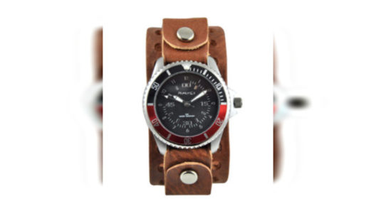 Black Leather Band Watch BB037RK
