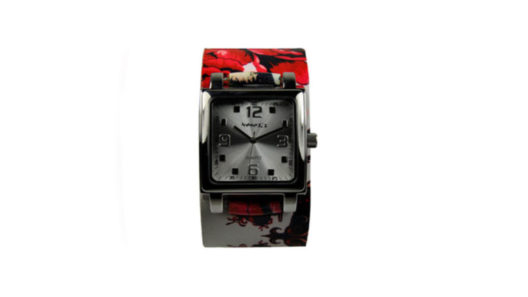 Silver SQ Tattoo Leather Watch 310-516S